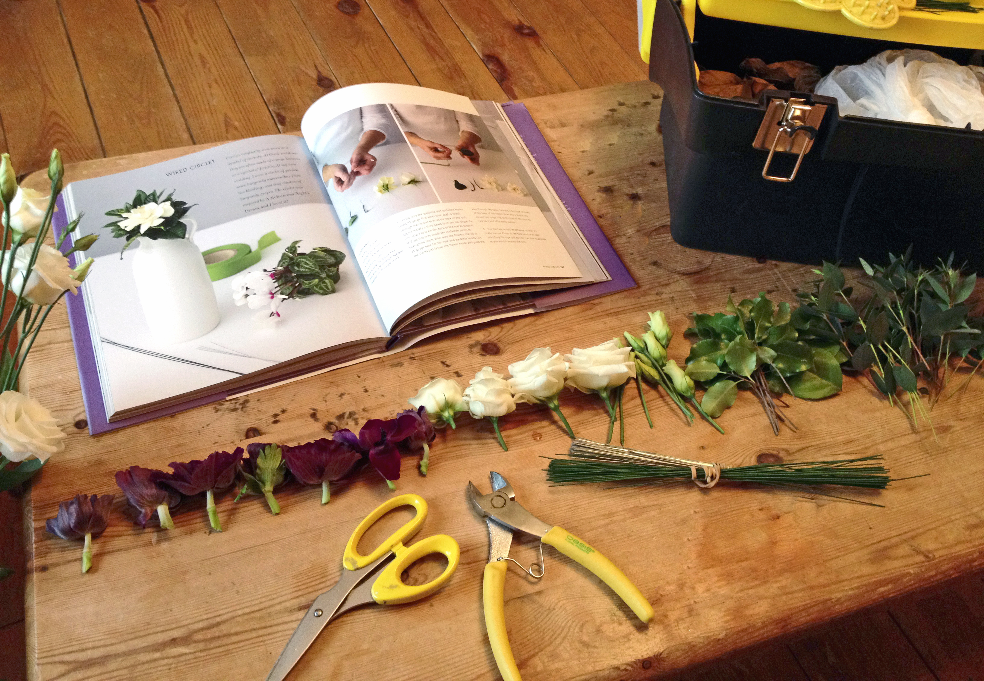 A diy tutorial how to make a flower circlet joanne truby floral all prepared and ready to start wiring izmirmasajfo Choice Image