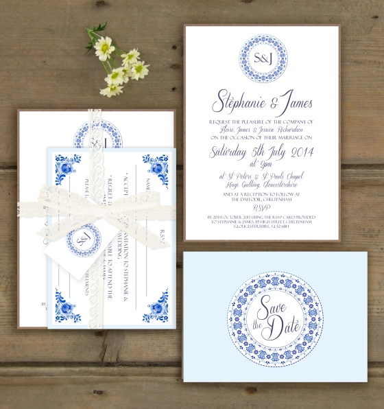 China Blue Wedding Stationary